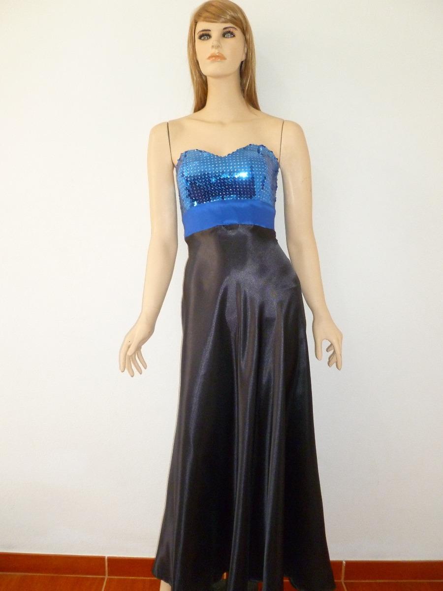 Vestido De Fiesta Matrimonio Largo Azul Negro Talla M