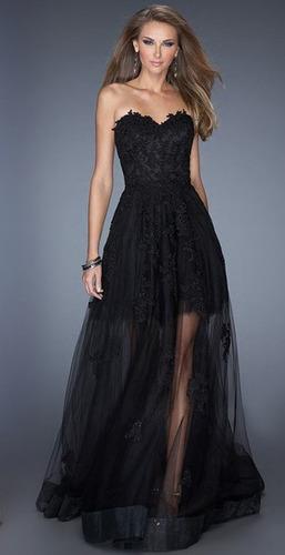 vestido de fiesta micro tul y encaje