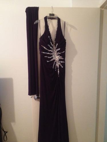 vestido de fiesta morado espectacular