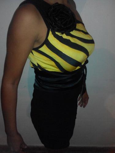 vestido de fiesta negro con amarillo talla m