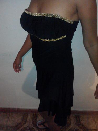 vestido de fiesta negro con encaje dorado talla s