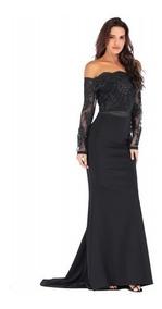 Vestido De Fiesta Negro Sin Hombros Encaje Corte Sirena Moda