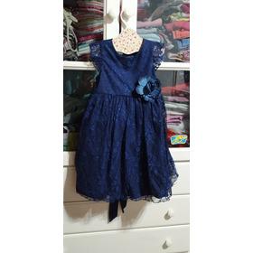 Vestido De Fiesta Nena. Talle 3 Años. Importado Azul Noche.