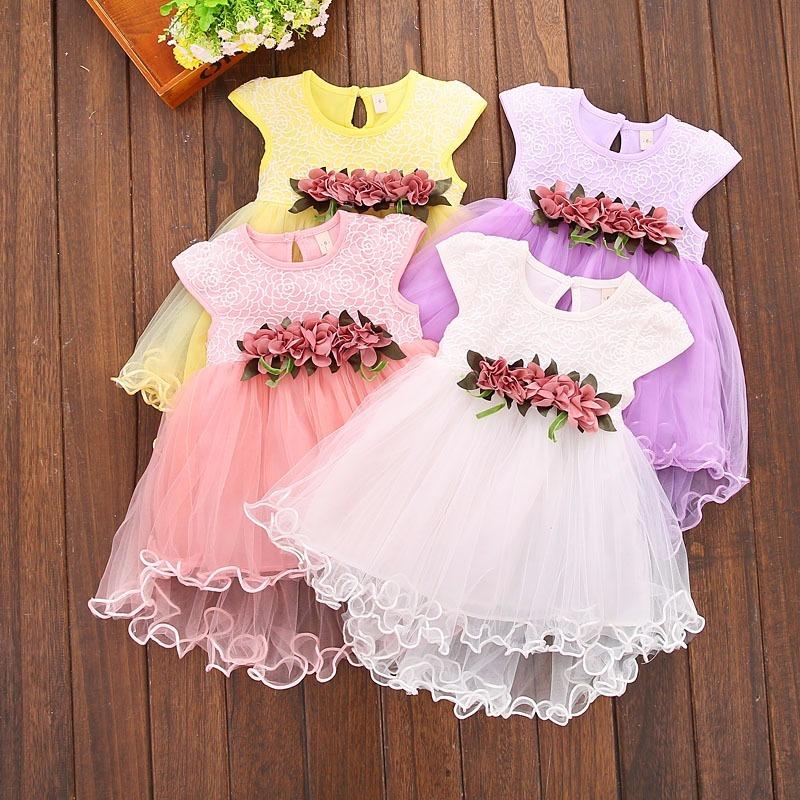 Vestido De Fiesta Niña Talla 3 Tutu Con Flores - $ 390.00 en Mercado ...
