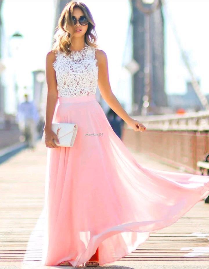Vestido De Fiesta Nuevo Mujer Rosa Y Blanco Transparente - $ 550,00 ...