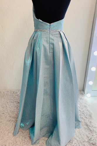 vestido de fiesta o xv años noche largo azul gold brillos