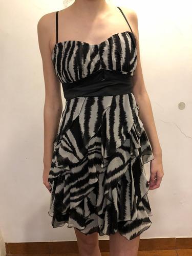 vestido de fiesta ona saez animal print t. l impecable!