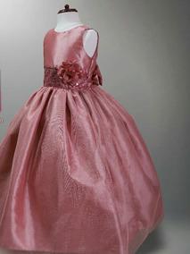 Vestido De Fiesta Paje Niña Palo De Rosa Tinto Y Blush