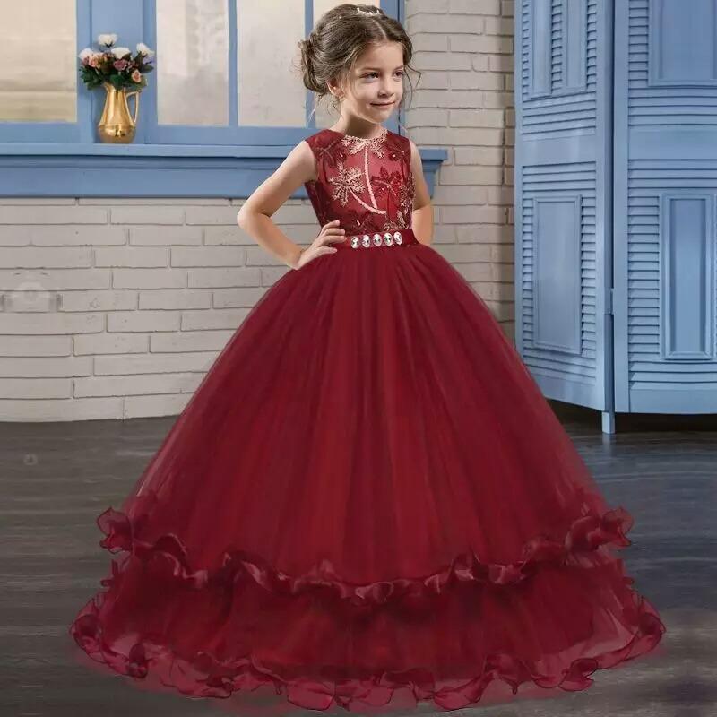 Vestido De Fiesta Para Niña Vestido Niña Color Vino Largo