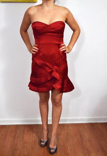 vestido de fiesta rojo bcbg max azria, talla 4 (small)
