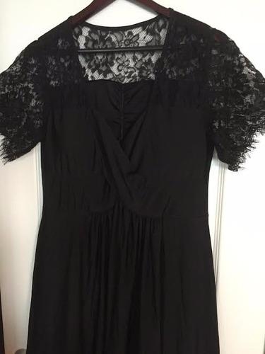 vestido de fiesta rojo negro largo mangas tallas extras