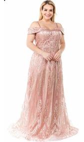 Vestido De Fiesta Rosa Gold Talla Extra Grande 2xl 3xl