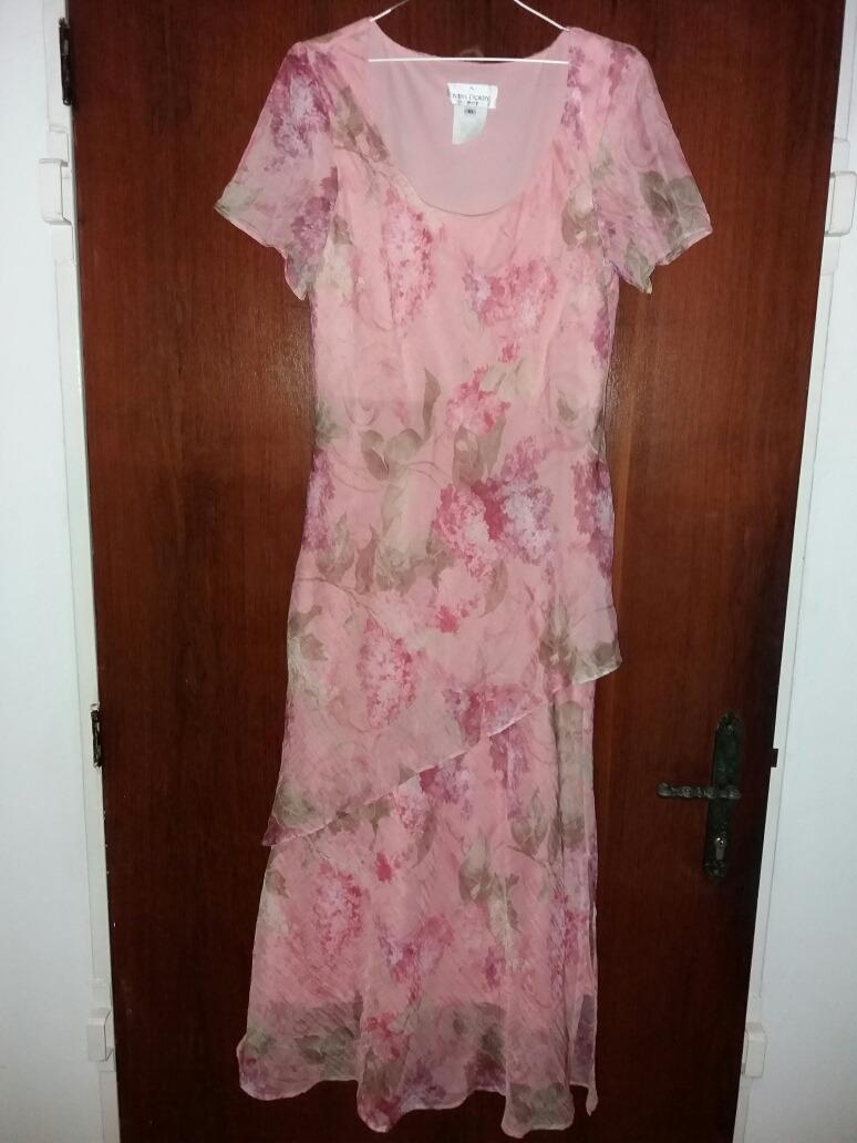 Vestido De Fiesta Rosado Rosa Viejo Flores Elaborado En Gasa - Bs ...