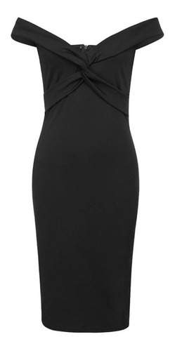 vestido de fiesta sexy con escote hombros color negro pm02