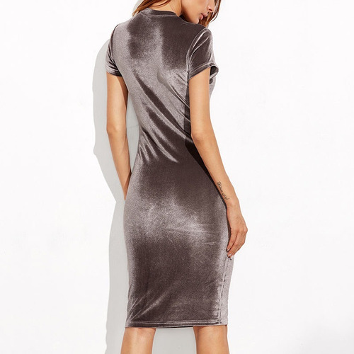 vestido de fiesta sexy en terciopelo manga corta 15