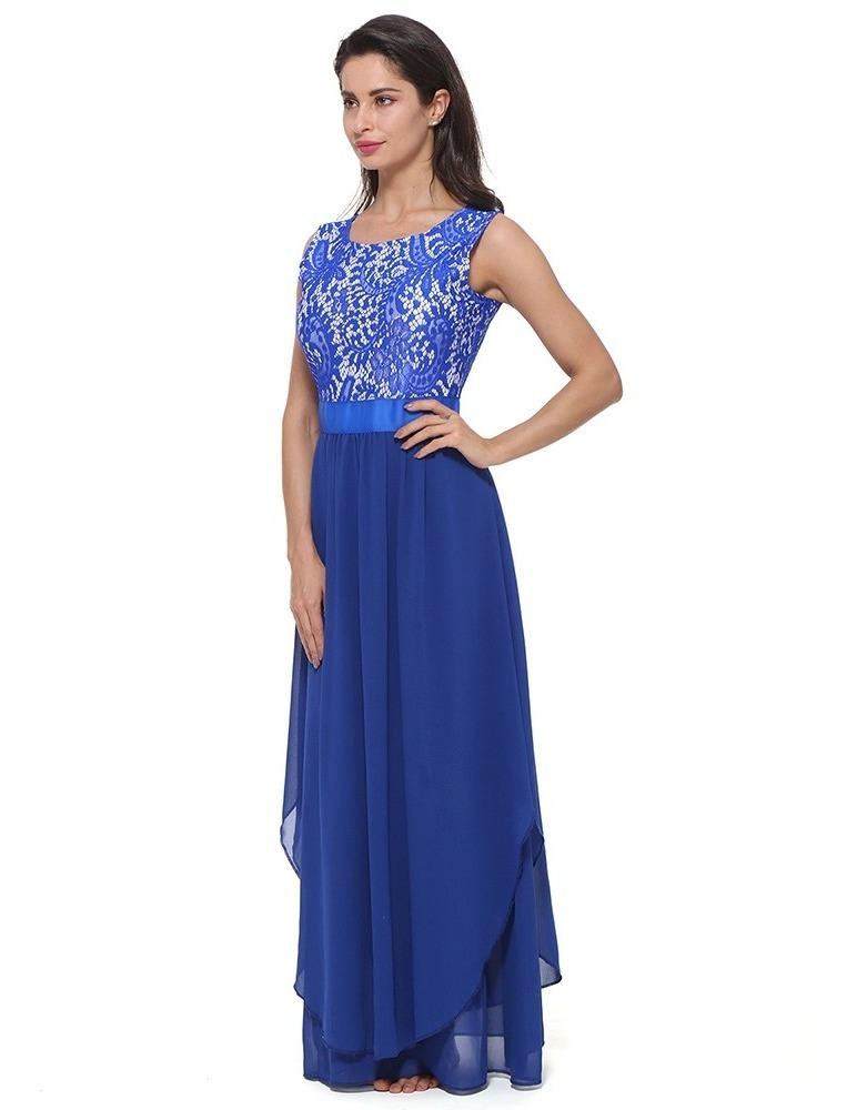 942900c4a471 Vestido De Fiesta Sin Mangas De Gasa De Encaje Para Mujeres