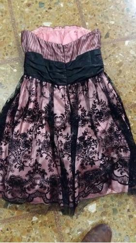 vestido de fiesta talle 16 rosa con encaje negro