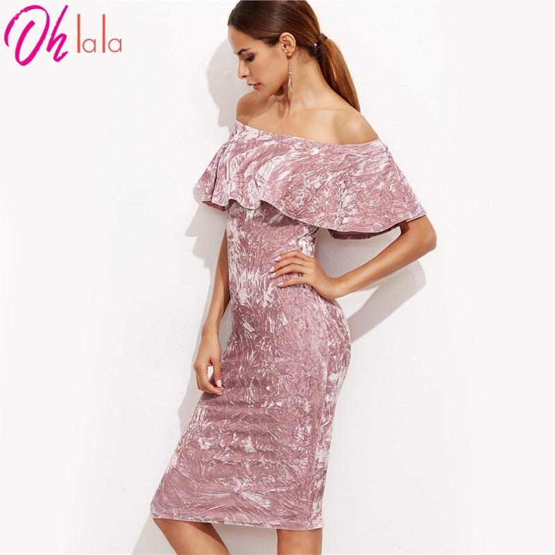 Vestido De Fiesta Terciopelo Rosa Sexy, Envio Internacional ...