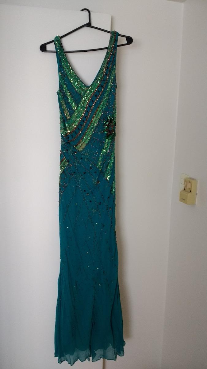 c1ff8e26e8 vestido de fiesta verde turquesa bordado. Cargando zoom.