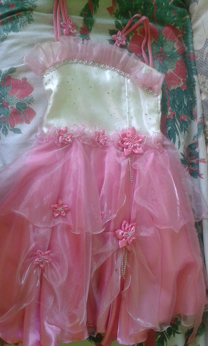 Vestido De Fiesta Vestir Gala Blanco Con Rosado Niña - Bs. 18.000 ...