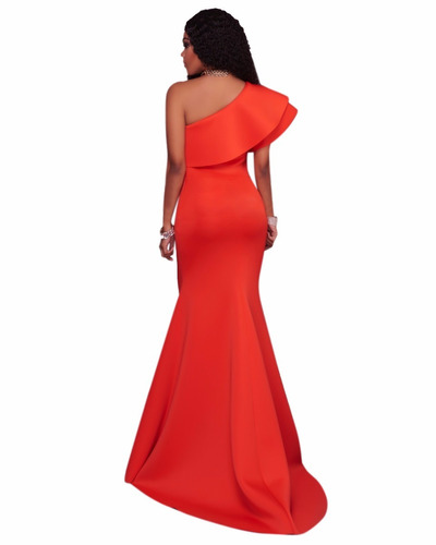 vestido de fiesta vino azul rey naranjasirena un hombro boda