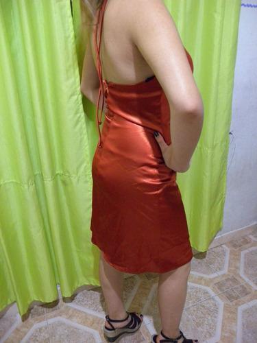vestido de fiestas finisimo! naranja cobrizo usa talle s-m