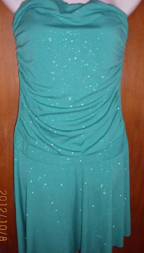 vestido de fiesta,strapless dama talle s verde c/brillos