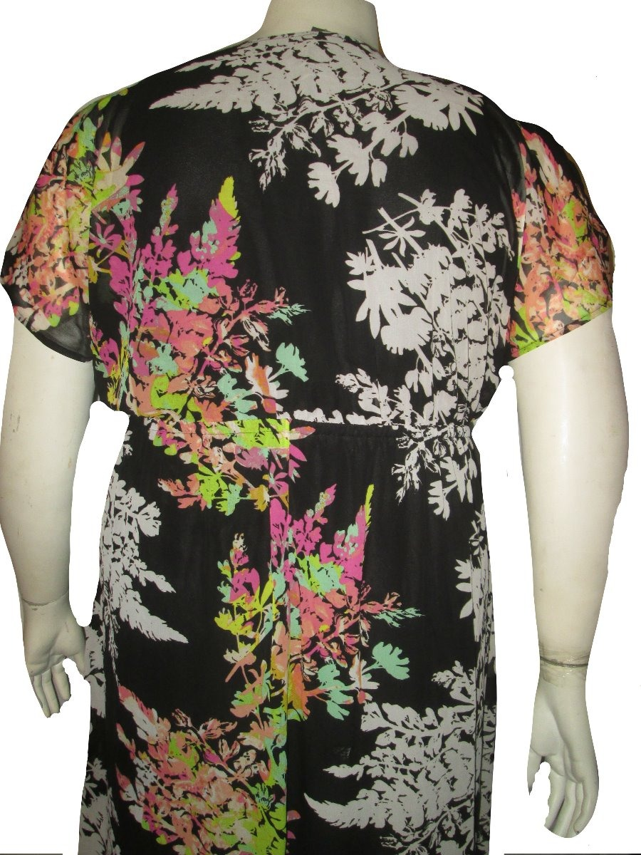 Vestido De Gala Negro Estampado Talla 4x (46 48) Lane Bryant ... 5731b2936371