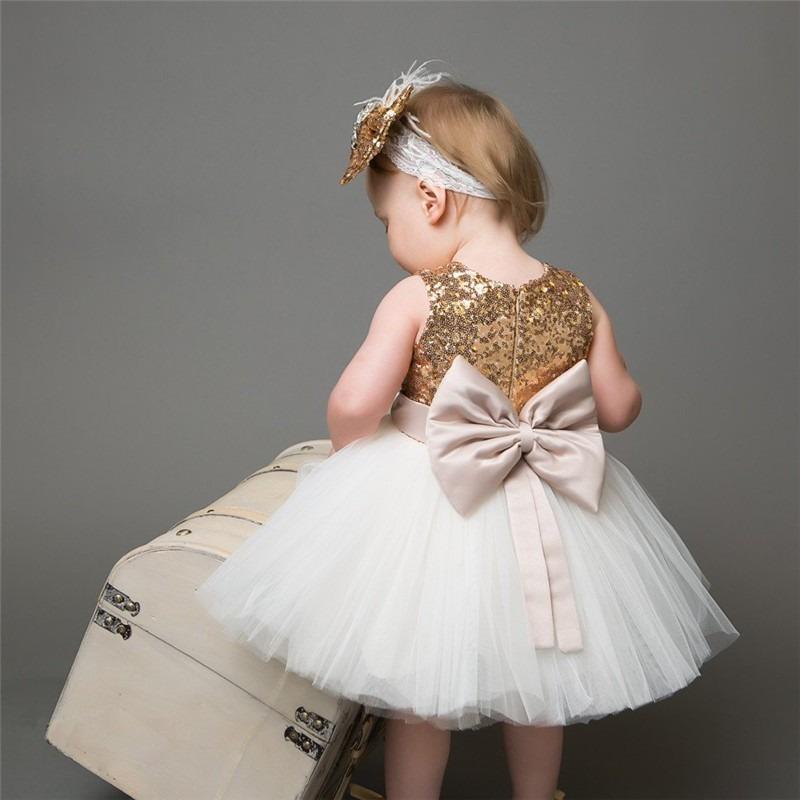 Vestidos blancos con dorado para ninas