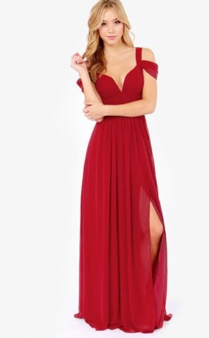 e58da4cc12c0 Vestido De Gala Rojo Sin Manga Largo Con Tajo En La Pierna