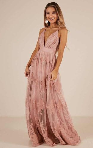 vestido de gala rosado palo talla m