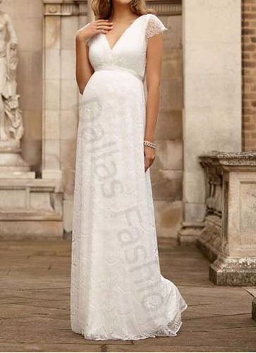 vestido de gestante/casamento em renda, com cinto incluso