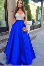 Vestido De Graduación Azul Rey