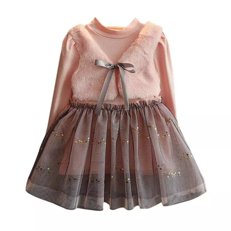 3107b91ee Vestido De Invierno Para Niña Niñas Con Chaleco Manga Larga