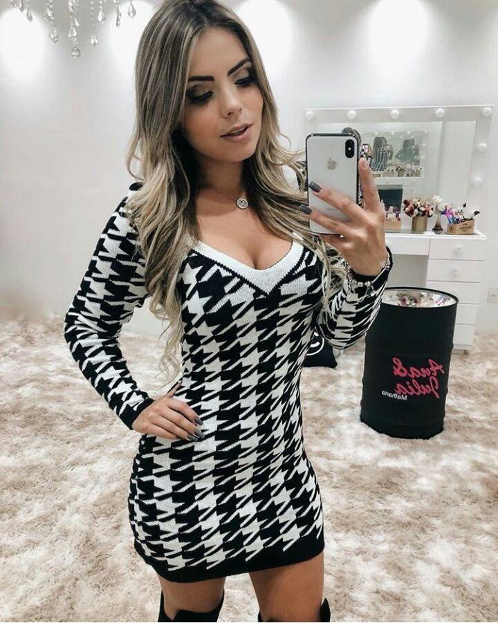 Vestido De Lã Fina. Moda Outono Inverno Moda 2018 - R  90 94fddc359e7