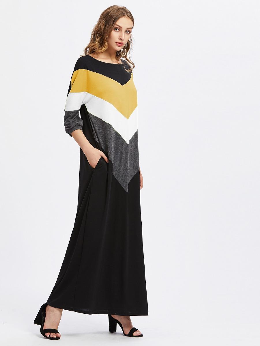 Vestido De Largo Hasta Los Pies Con Costura En Contraste - $ 589.26 ...