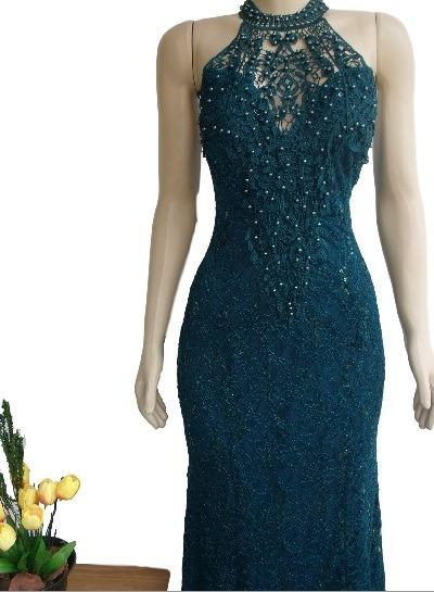 5e6b5b4d1 Vestido De Luxo Festa Longo Renda Verde Escuro Casamento - R$ 220,00 ...