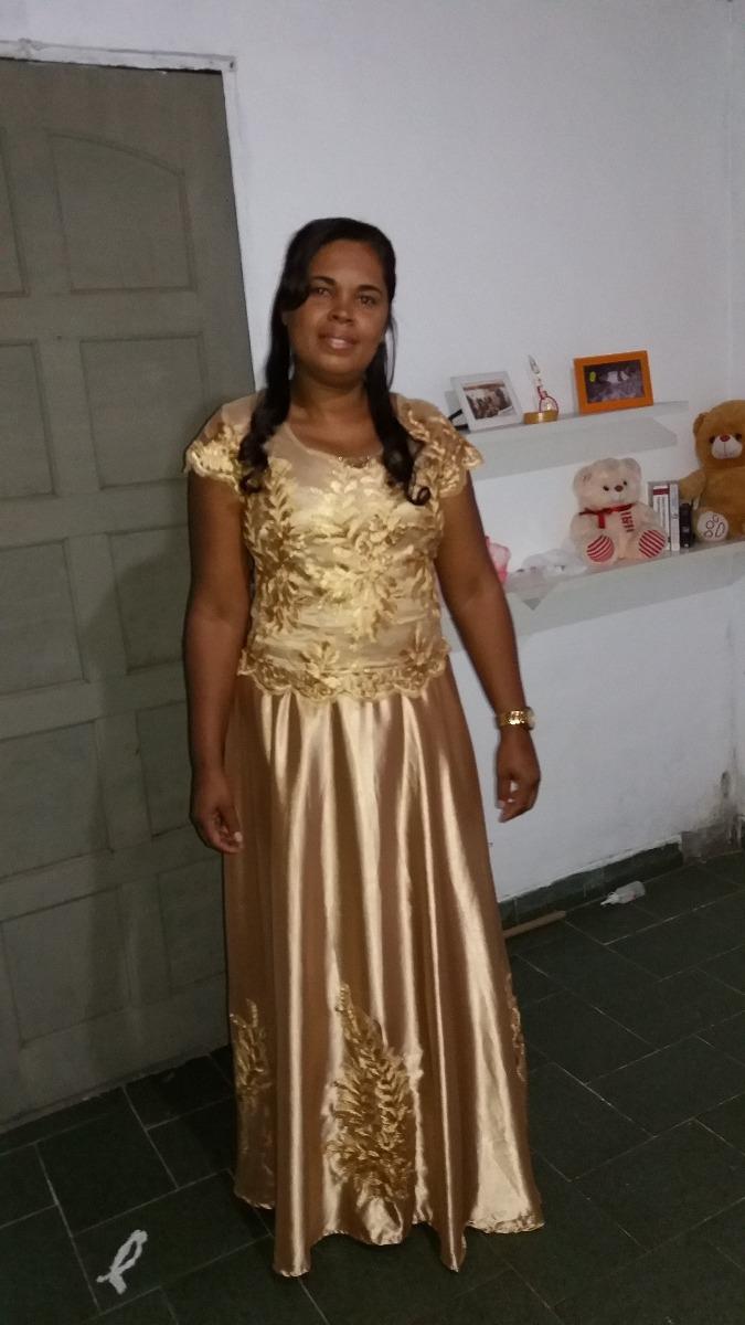 e6e997351 vestido de madrinha longo tule com cetim, cor dourado. Carregando zoom.