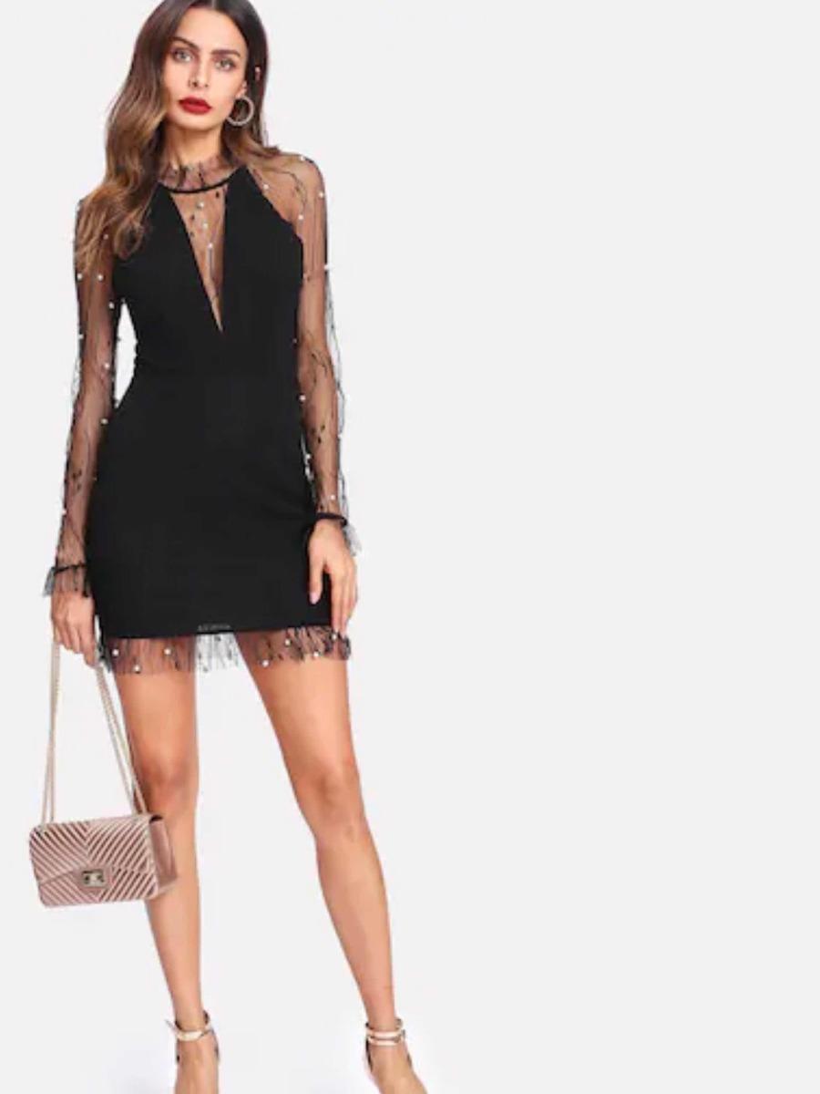 Vestido De Malla Con Perla Shein