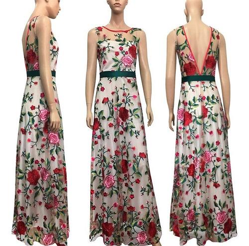 vestido de moda bordado sin mangas de noche ropa de mujer