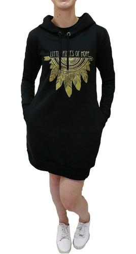 vestido de moletom silkado com capuz e bolso