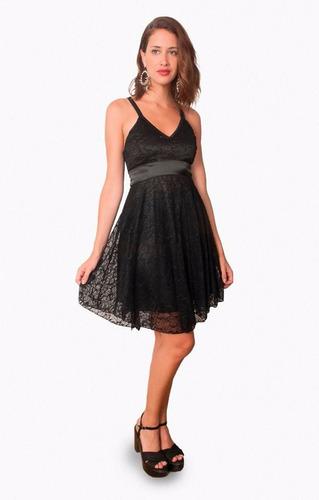 vestido de mujer de encaje, bretel puntilla, brishka, m-0050
