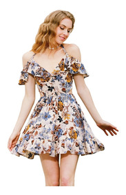 Vestido De Mujer Delicado Con Flores Vestido Elegante Joven