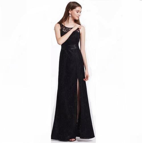 vestido de mujer gala largo elegante negro raja en la falda