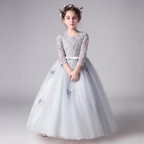 Vestido De Niña Gris Para Fiesta Boda Paje 3 A 12 Años