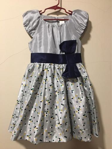 vestido de niña gymboree talla 5 color plateado con azul.