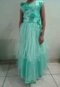 Vestido De Niña Promocion Ajustable Verde Agua Con Pedreria