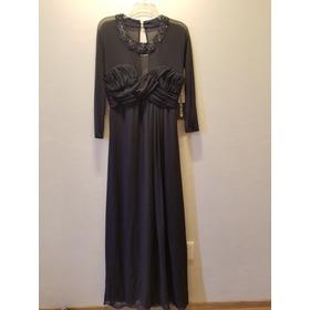Vestido De Noche Azul Eva Brazzi