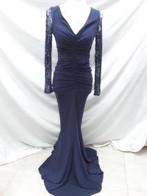 Vestido De Noche Azul Marino Marca Rue De La Paix