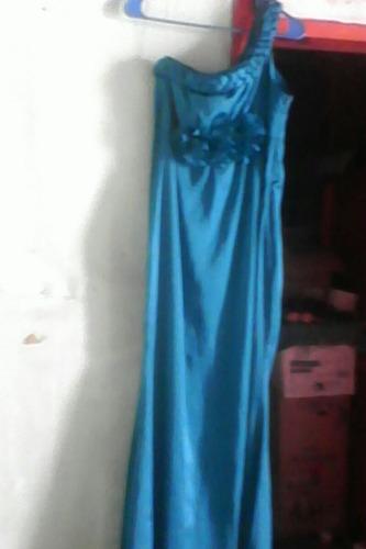 vestido de noche azul verde metalico